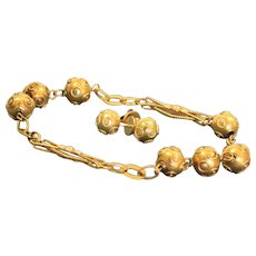 Estate 18 K Etruscan Revival Bracelet Earring Set