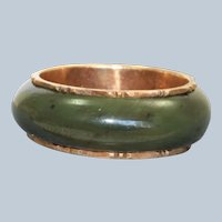 Estate 14K Spinach Jade Bamboo Eternity Band