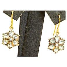 Estate 14 K Topaz Floral Dangle Earrings