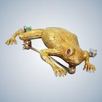 Estate 18K Frog Pin