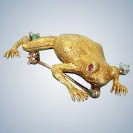 Estate 18 K Frog Pin