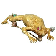 Estate 18K Frog Pin