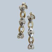 Estate 18K Two Tone Diamond Dangle Earrings
