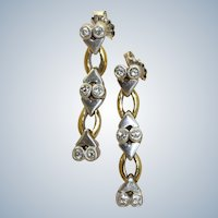 Estate 18K Two Tone Diamond Dangle Earrings