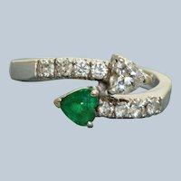 Estate 18K Emerald and Diamond Cross Over Ring