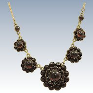 Early Garnet Vermeil Necklace with 14 K Chain