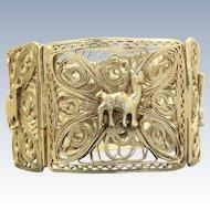 Vintage Peruvian 800 Silver Filigree Bracelet