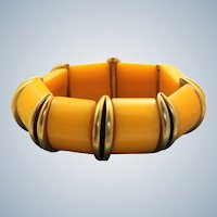 Vintage Butterscotch Bakelite Stretch Bracelet