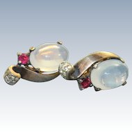 1940's Genuine Trifari 'Moonstone'Jelly Belly Earrings