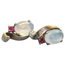 1940's Genuine Trifari 'Moonstone'Jelly Belly Earrings