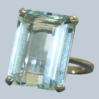 Estate Platinum 20 CT Aquamarine Dinner Ring