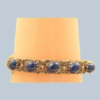 Estate 14 K Filigree Lapis Bangle Bracelet