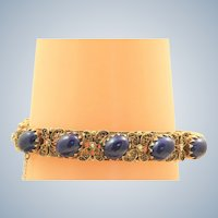 Estate 14 K Filigree Lapis Bangle Bracelet