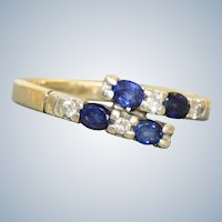 Estate 14K Sapphire and Diamond By Pass Ring