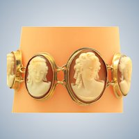 14K Estate Graduated Cameo Bracelet