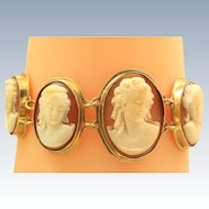 14 K Estate Graduated Cameo Bracelet