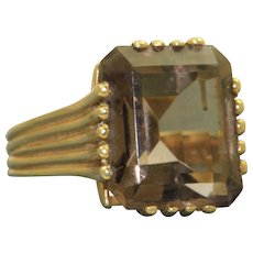 14 K Estate 5.50 CT Smokey Topaz Ring