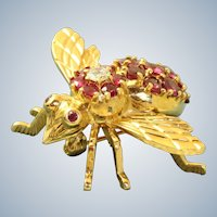 Estate 18K Ruby and Diamond Bee/Fly