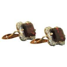 Estate 14 K Two Tone Garnet Earrings