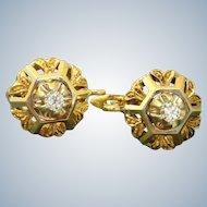 Estate Two Toned 18 K Diamond Drop Earrings