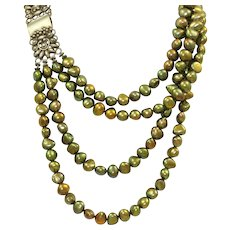 Estate Silver Green Fresh Water Pearl 4 Strand Necklace