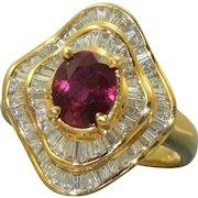 Estate 1970's Ruby and Diamond Ballerina Ring
