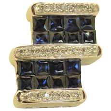 Estate 18 K Sapphire and Diamond Pendant