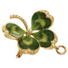 Estate 14 K Krementz Art Nouveau Enamel and Seed Pearl '4' Leaf Clover Brooch