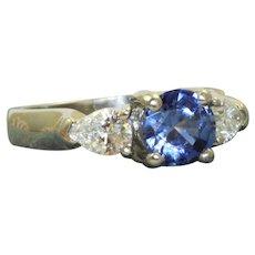 Estate Platinum 1 Ct Ceylon Sapphire and Diamond Ring