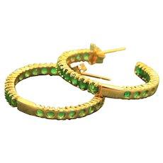 14 K 1 CT Emerald Hoop Earrings