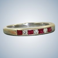 Estate 14K Ruby and Diamond Half Eternity Band