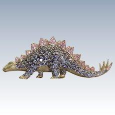Estate 18 K Tanzanite and Pink Sapphire Dinosaur Brooch