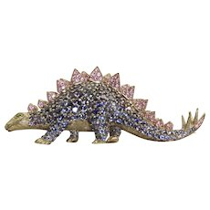 Estate 18 K Tanzanite and Pink Sapphire Dinosaur Brooch