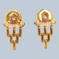 Estate 18 K Etruscan Revival Ruby and Diamond Earrings