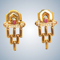 Estate 18 K Etruscan Revival Ruby and Diamond Earrings