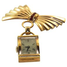Retro Gold Filled Red Stone Watch with Pin