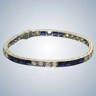 Estate Platinum Diamond and Sapphire Line Bracelet