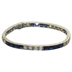 Estate Platinum Diamond and Sapphire Line Bracelet