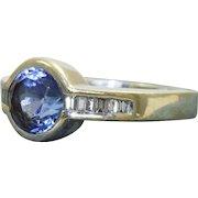 Estate 18 K 2.5 CT Tanzanite and Diamond Ring