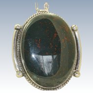 Estate Sterling Large Blood Stone Pendant with Handmade Chain