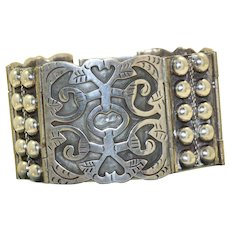 Sterling Mexican Hinged Aztec Bracelet