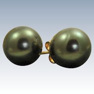 14 K 12 mm Black Tahitian Pearl Earrings
