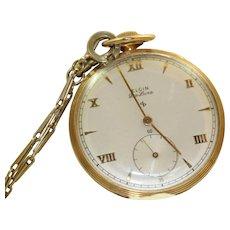 Estate Elgin De Luxe 10 K Gold Filled Pocket Watch 1940's in Original Box