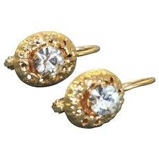 Estate 14 K Zircon Dangle Earrings