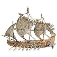 Vintage 800 Silver Viking Ship Pin