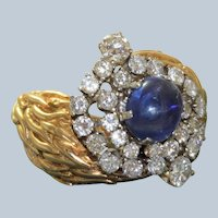 18K 2 CT Sapphire Cabochon and Diamond Ring