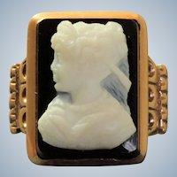 Vintage 14K Hard Stone Rose Gold Cameo Ring