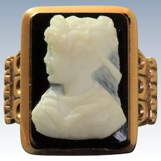 Vintage 14 K Hard Stone Rose Gold Cameo Ring