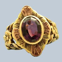 Early 10K Two Tone Amethyst Ring