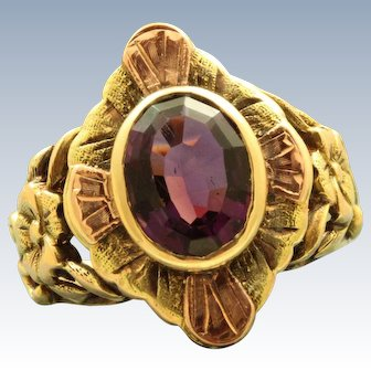 Early 10 K Two Tone Amethyst Ring